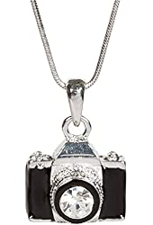 """Black Camera Necklace with Sparkling Crystal Lens on 16"""" Chain with Extender"""