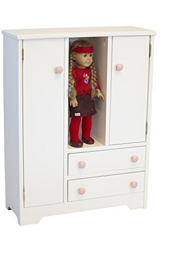 Amish-Made Wooden Deluxe Doll Wardrobe, White Finish with Pink Knobs by AmishToyBox.com