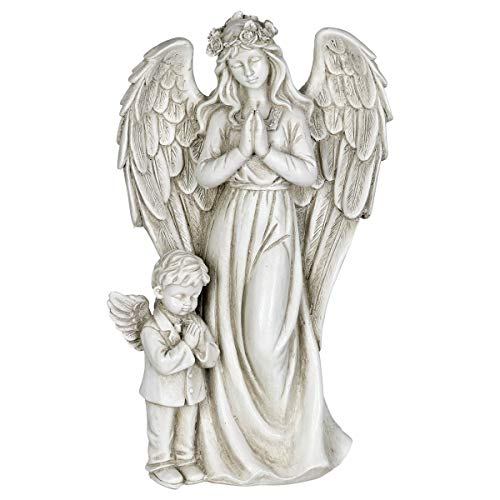 (Exhart Angel Garden Statue with Little Boy - Light Up Resin Angel Figurines Feature Battery-Powered LED Lights Timer - Angel Resin Statues, Memorial Decoration 8