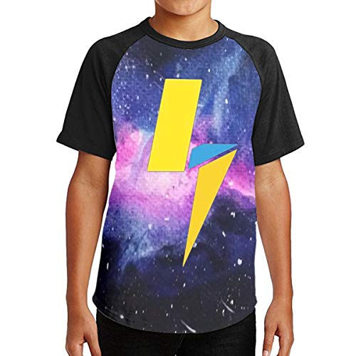 - THORP.JENELLE La-chlan Power Bold Logo Youth T-Shirt for Boys and Girls Black