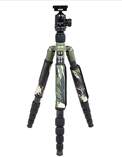 GOWE Camouflage Foldable Extendable 29MM Carbon Fiber Tripod Unipod Monopod with Ball Head for Canon Nikon Sony DSLR