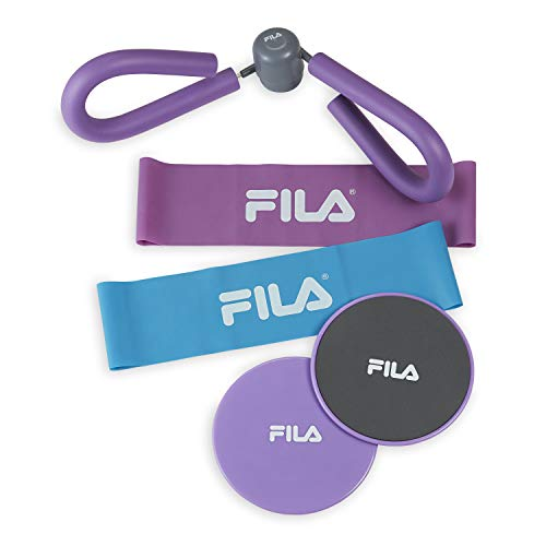 FILA Accessories Total Glute Exercise Trainer Kit (Loop Bands, Core Gliding Disc Sliders and Thigh Toner) ()