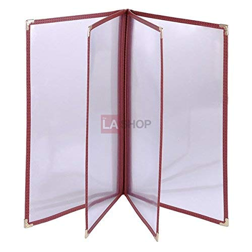 (Set 20pcs 8.5x14 inches Transparent Restaurant Menu Cover Folder 8 View Book Style Dark Red Burgundy Leatherette Trim Patterned Gold Metal Corners for Food Service Café Nails Shop Pub Hotel)