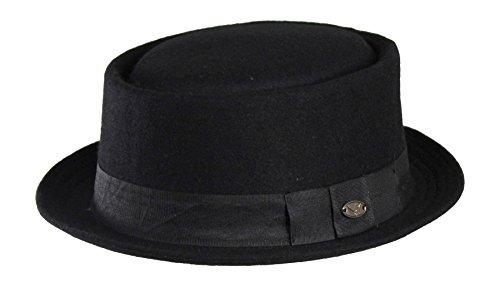 Classic-Wool-Blend-Pork-Pie-Fedora-Hat-w-Ribbon-Band-Upturned-Short-Brim
