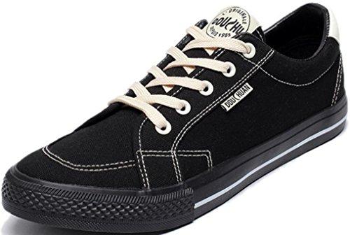 Satuki Canvas Schoenen Voor Heren, Skate Schoenen, Casual Lace Up Atletische Lichtgewicht Soft Fashion Sneakers Zwart
