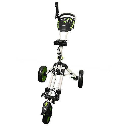 Caddymatic Golf 360° SwivelEase 3 Wheel Folding Golf Cart (White/Green)