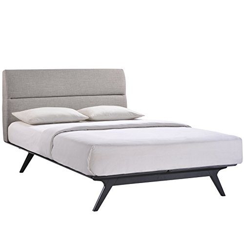 Modway Addison Mid-Century Modern Fabric Upholstered Queen Platform Bed in Black Gray