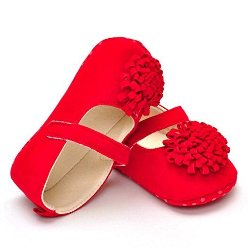 Omiky® Neugeborene Säuglings-Baby-Jungen-Mädchen-Krippe-Schuhe Weiche alleinige Anti-Rutsch-Turnschuhe Rot