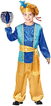 Partilandia Disfraz PAJE Azul para niño Navidad 2-4 años: Amazon ...