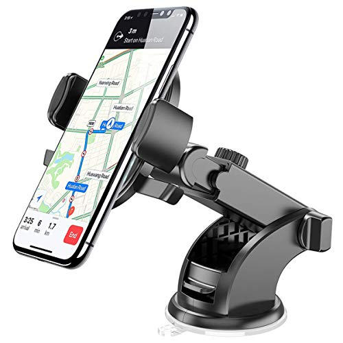 (Phone Holder for Car, Dashboard Windshield Stand 360° Rotation Stretchable One Touch Car Phone Mount Compatible for iPhone 8 Plus X XR XS MAX 7 6s Samsung S10 S8 S9 Plus S7 Note 9 8 LG G5 G6 Nexus 5X)