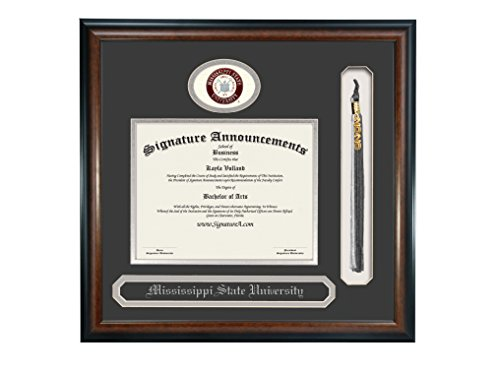 Signature Announcements Mississippi State University (MSU) Doctorate Graduation Diploma Frame with Sculpted Foil Seal, Name & Tassel (Matte Mahogany, 23 x 24)