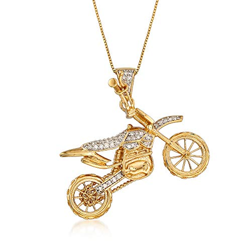 Ross-Simons 0.30 ct. t.w. Diamond Motorcycle Pendant Necklace in 18kt Gold Over Sterling ()