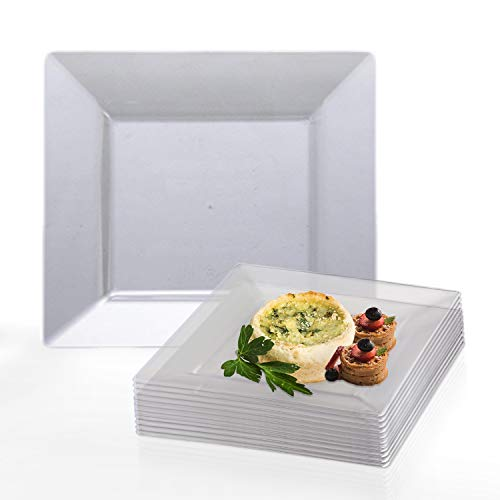 Elegant Disposable Plastic Dessert Plate Set - 120 Heavy Duty Fancy Square Clear Salad Plates - 6.5