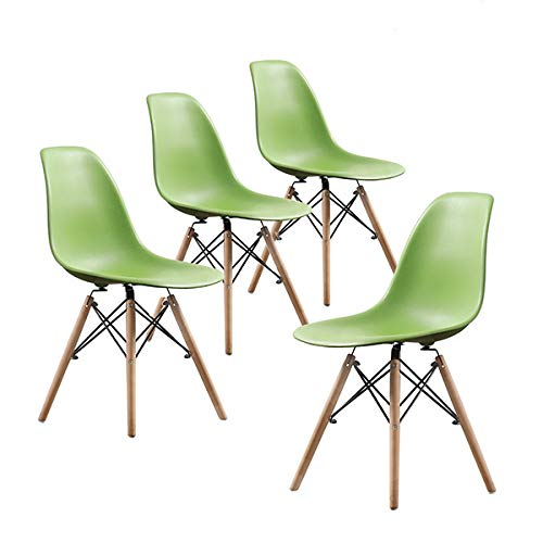 Buschman Set of Four Green Eames-Style Mid Century Modern Dining Room Wooden Legs Chairs