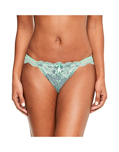 Pour Moi Womens Amour Brazilian Brief Size 12 In Green Mint/Silver