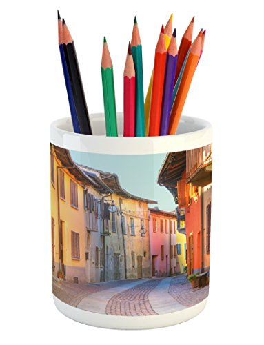 Ambesonne Italy Pencil Pen Holder, Narrow Paves Street Among Old Houses in Town Serralunga D'Alba Piedmont, Printed Ceramic Pencil Pen Holder for Desk Office Accessory, Pale Orange Brown Pink
