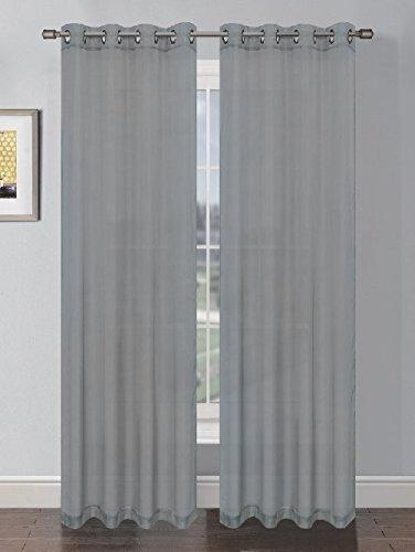GoodGram Sheer Voile Grommet Curtain Panel, Grey
