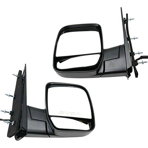 Make Auto Parts Manufacturing Set of 2 Right and Left Side Textured Black Power Operated Manual Folding Non-Heated Door Mirror For Ford E150 2003-2006 / For Ford E-250 2003-2006 - FO1321254-FO1320254