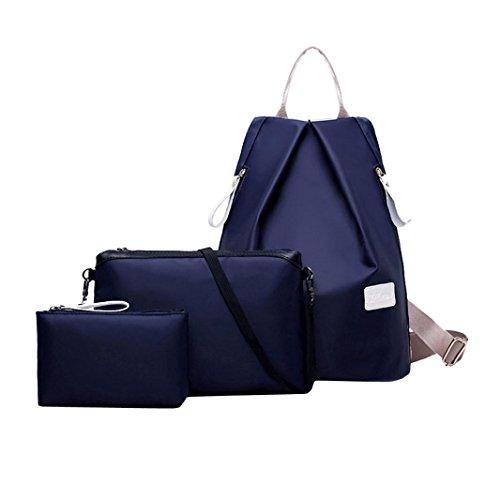 3 Piezas Monedero Conjunto Lindo Viaje Impermeable Oxford Tela Mochila Bolso Monedero Para Mujeres y Estudiantes Niñas By VENMO Azul