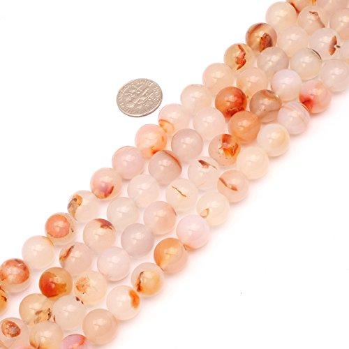 JOE FOREMAN 12mm Red Leaf Carnelian Semi Precious Gemstone Round Loose Beads for Jewelry Making DIY Handmade Craft Supplies 15