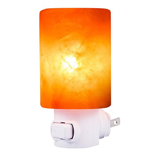Betus [Natural Crystal] Himalayan Salt Wall Lamp - Air Purifying Night Light - 360° Rotatable Plug 7W Bulb - Cylindrical