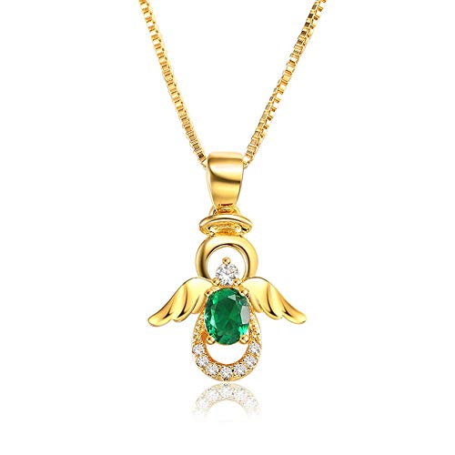 Yellow Gold Angel Charm - SKA Jewelry Angel Necklace for Girls Women Green Cubic Zirconia Lovely Angel with Wings Pendant Chain Necklace Adjustable 20