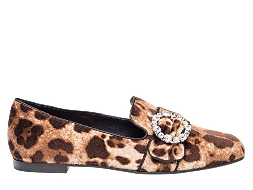 Dolce E Gabbana Kvinder Cp0090am355hk13m Brun Fløjl Mokkasiner bJxoTs9na