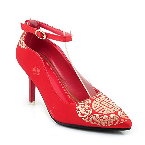 Shoes Embroidered Womens Travel BalaMasa Red Structured APL10790 Urethane Pumps gqpRfxw