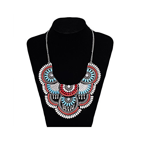 Miraculous Garden Womens Vintage Alloy Silver/Gold Boho Bohemian Necklace Ethnic Tribal Boho Necklace Turquoise Beads Crystal Necklace (Antique Silver) -