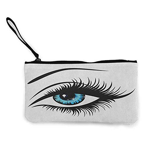 - Canvas Print Wallet Eye,Azure Blue Glance of a Woman in Cartoon Drawing Style Youthful Beauty Theme, Pale Blue Black White W8.5