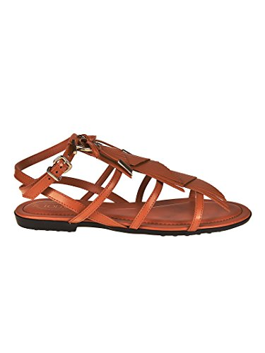 Tod's Fringed Leather Sandals with Logo Marrone Donna Y7HXOuyCp