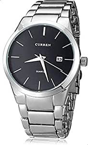 Curren Men's Analog Black Dial Stainless Steel Band Watch [M8106SB]