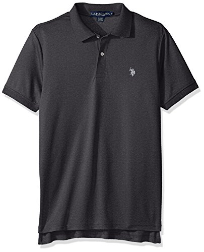 (U.S. Polo Assn. Men's Classic Fit Solid Short Sleeve Stretch Poly Polo Shirt, Black Heather-8027, Medium)