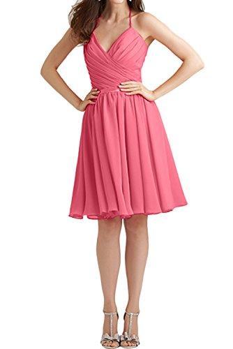 Chiffon V Wassermelone Abendkleider Suess Ivydressing Partykleider 2017 Promkleider Wassermelone Kurz Neckholder Neck Falte Cocktail Neu Tq8n4I
