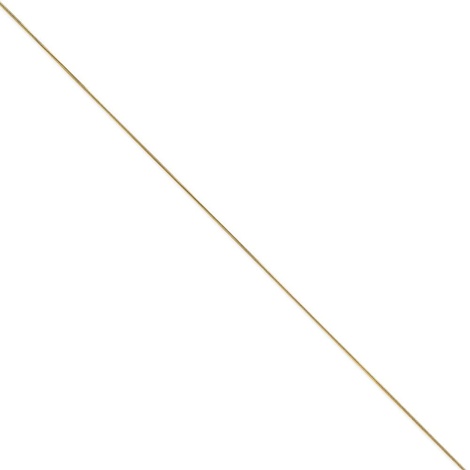 14K Yellow Gold .80mm Round Snake Chain Anklet