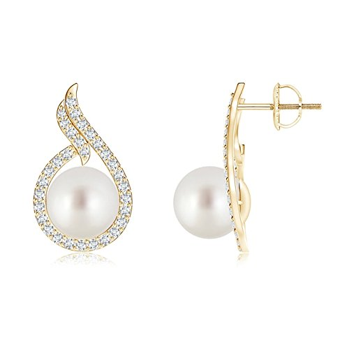 South Sea Cultured Pearl Earrings with Diamond Swirl Frame in 14K Yellow Gold (9mm South Sea Cultured Pearl) ()