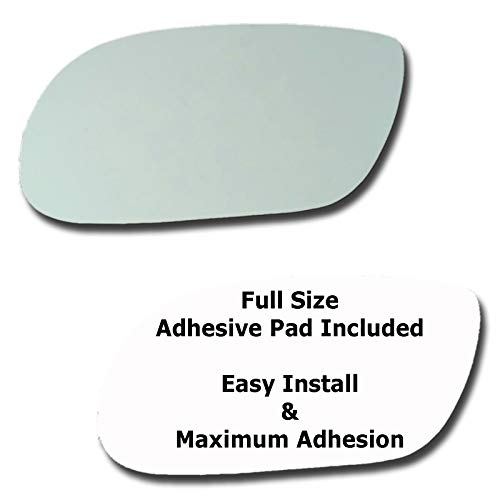 (Mirror Glass + Full Size Adhesive Pad for 1998-2005 Buick Park Avenue Driver Side Replacement)