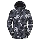 AKIMPE Men's Windbreaker Waterproof Lightweight Jacket Camouflage Drawstring Lined Zip up Snowboard Breathable Wind Raincoats Active Thickened Outdoor Trench Coats with Pocket