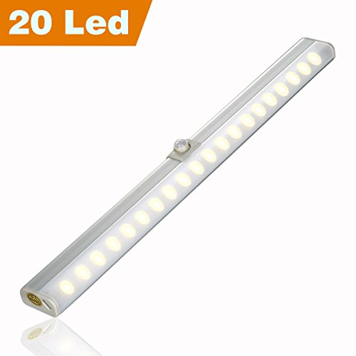 Rechargeable Closet Light Motion Sensor Wardrobe Lighting, 20 LED Wireless Pantry Lights with Innovative 30° Adjustable Sensor, Two Installation Modes, Easy to Install