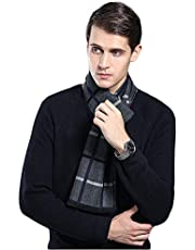 Men's Winter Cashmere Scarf Plaid Stripes Long & Fashion Formal Soft Scarves with Tassel( 6 Colors)