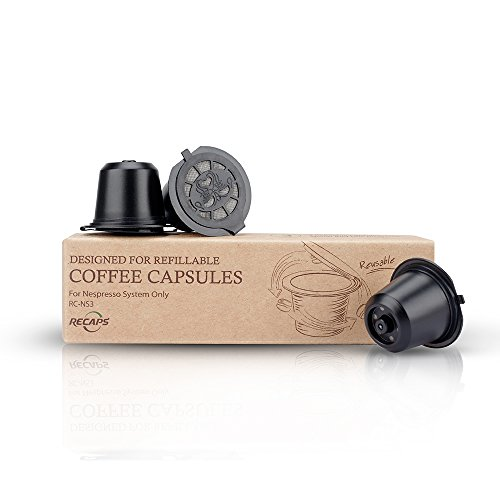 Essenza Single (RECAPS Refillable Capsule BPA Free Coffee Pods Reusable 100 Times Compatible with Nespresso Original Line Machines 3 Pack Black(Free Brush and Spoon))