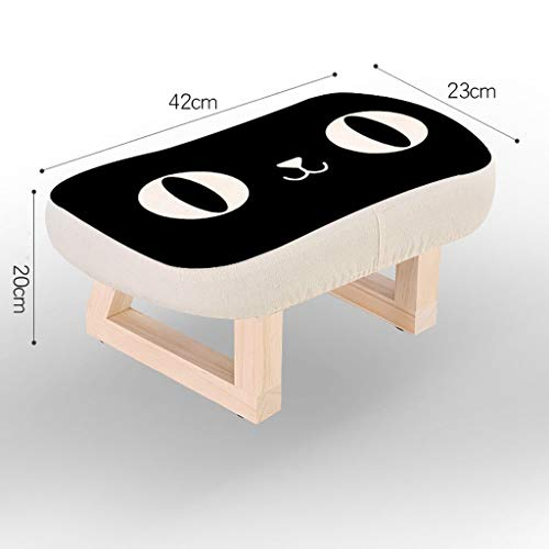 Czlsd Solid Wood Stool Living Room Creative Retro Small Bench Home Adult Wear Shoes Stool Sofa Change Shoes Stool Fabric Stool (Color : Black cat)