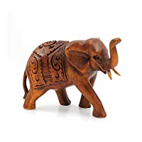 artigianale Statuette elefante indiano in legno H10cm–Trompe in aria.