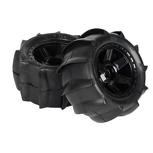 Proline 117911 Sling Shot 3.8' Sand Tires Mounted Black 1/2' Offset 17mm Wheels