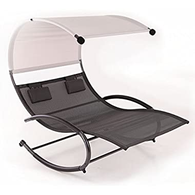 Bellezza© Double Chaise Rocker Patio Furniture Seat Chair Swing w/ Canopy & Pillow, Gray