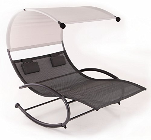 Belleze Double Chaise Rocker Patio Furniture Seat Chair Swing w/Canopy & Pillow, Gray
