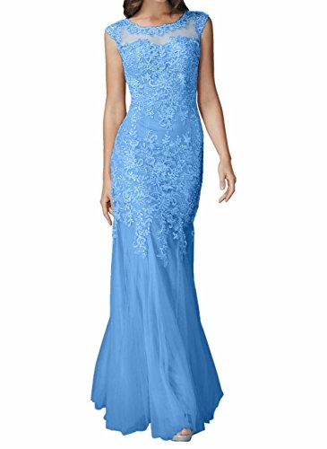 Abendkleider Damen Kleider Lang Spitze Brautmutterkleider Jugendweihe Blau Meerjungfrau Ballkleider Charmant Etuikleider wIUq0RUd