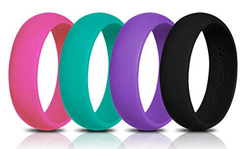 Swagmat Silicone Wedding Rings, 4 Pack Wedding Bands for Women (Pink, Turquoise, Black, Purple, 6-6.5)