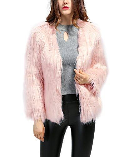 Erencook Women's Shaggy Faux Fur Coat Jacket (L=US 6, Pink)