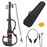 Cecilio CEVN-2NA Ebony Fitted Silent Electric Violin, Style 2, Metallic Mahogany, Size 4/4 (Full Size)